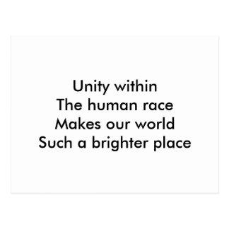 Human race unity postcard
