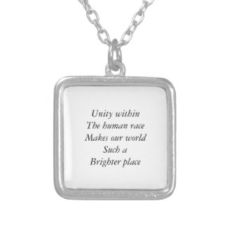 Human race unity square pendant necklace