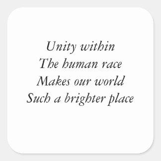 Human race unity square sticker