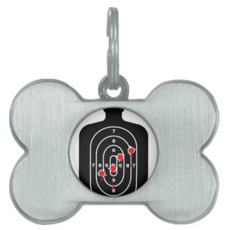 Human Shape Target With Bullet Holes Pet Tag