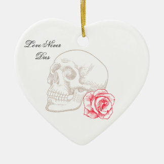 Human Skull and Red Rose Double-Sided Heart Ceramic Christmas Ornament