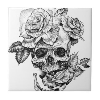 Human skull and roses black ink drawing ceramic tile