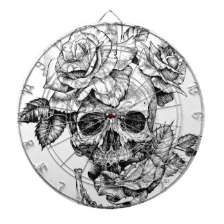 Human skull and roses black ink drawing dartboard