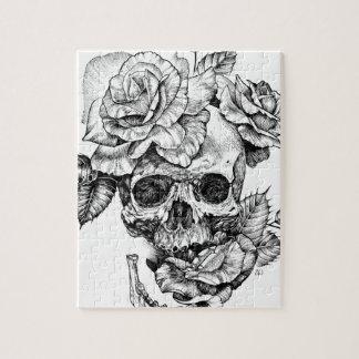 Human skull and roses black ink drawing jigsaw puzzle