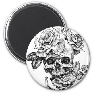 Human skull and roses black ink drawing magnet