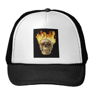 human skull hair and eye sockets on fire trucker hats