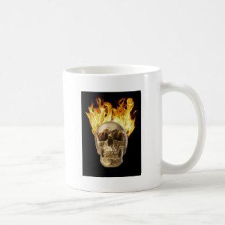 human skull hair and eye sockets on fire coffee mug