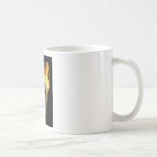human skull hair and eye sockets on fire coffee mugs