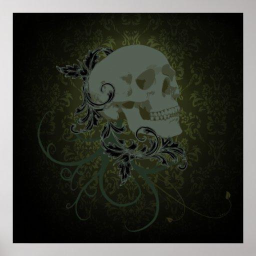 human skull poster 23x23