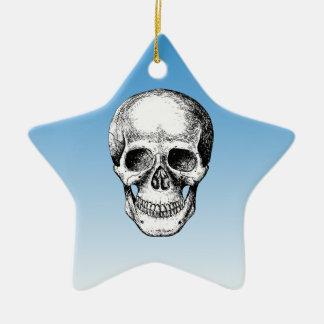 Human Skull White Face Ceramic Ornament