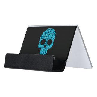 Human Skull With Flower Elements Desk Business Card Holder