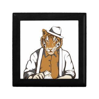 human tiger with playing cards gift box