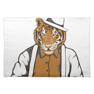 human tiger with playing cards placemat