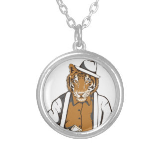 human tiger with playing cards silver plated necklace