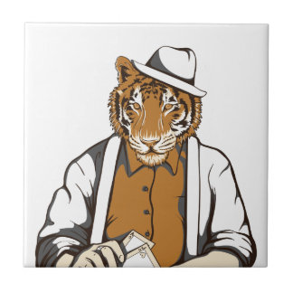 human tiger with playing cards tile