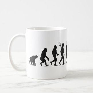 Human Transformation from Primates Silhouettes-Row Coffee Mug