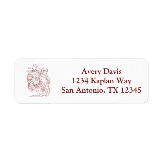 Human Vintage Anatomy Heart Red Return Address Label