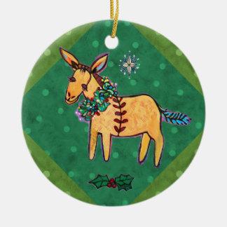 Humble Donkey at the Manger Christmas Ornament