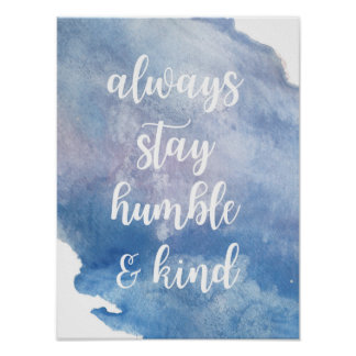 """Humble + Kind"" Watercolor Poster"