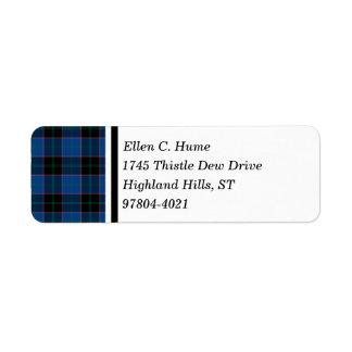Hume Clan Royal Blue and Black Scottish Tartan Return Address Label