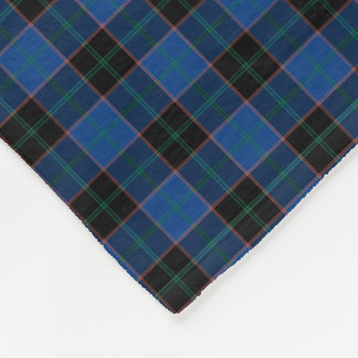 Hume Clan Royal Blue and Black Tartan Fleece Blanket