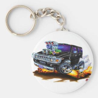 Hummer H2 Black Truck Basic Round Button Key Ring