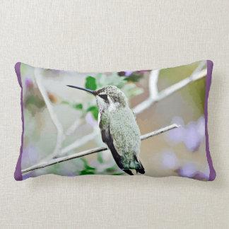 Hummer in Purple Cartoon Lumbar Throw Pillow