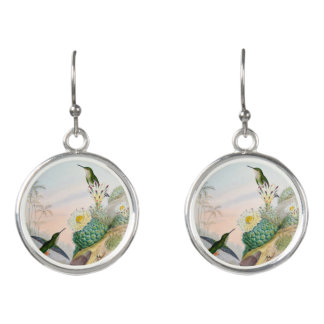 Humming Bird Cactus Painting Earrings