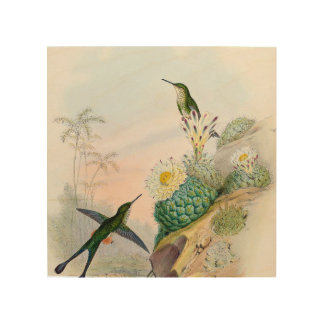 Humming Bird Cactus Painting Wood Art Sign