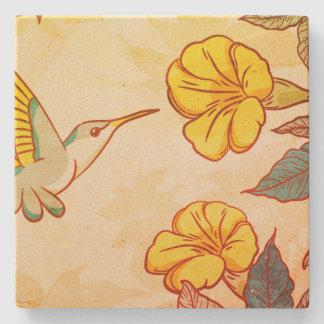 Humming bird flower background texture design stone coaster