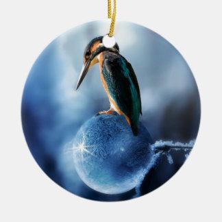 Humming Bird on Frozen Soap Bubble Macro Shot Ceramic Ornament