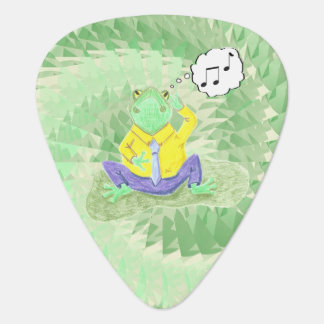 Humming frog green guitar pick