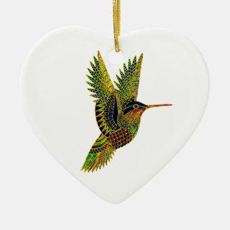Hummingbird 7b ceramic heart decoration