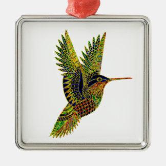 Hummingbird 7b Silver-Colored square decoration
