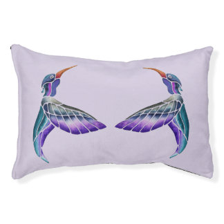 Hummingbird Abstract Watercolor Pet Bed