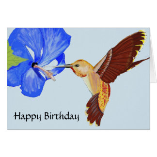 Hummingbird and Blue Hibiscus Birthday Card
