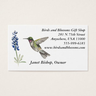 Hummingbird and Bluebonnet Business Card