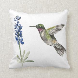 Hummingbird and Bluebonnet Cushion