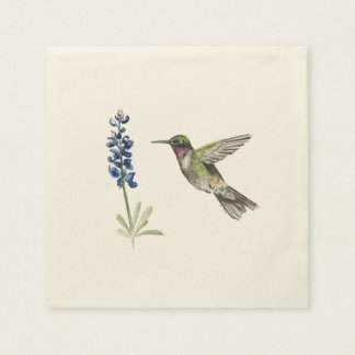 Hummingbird and Bluebonnet Disposable Napkins