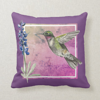 Hummingbird and Bluebonnet on Pink Background Throw Pillow