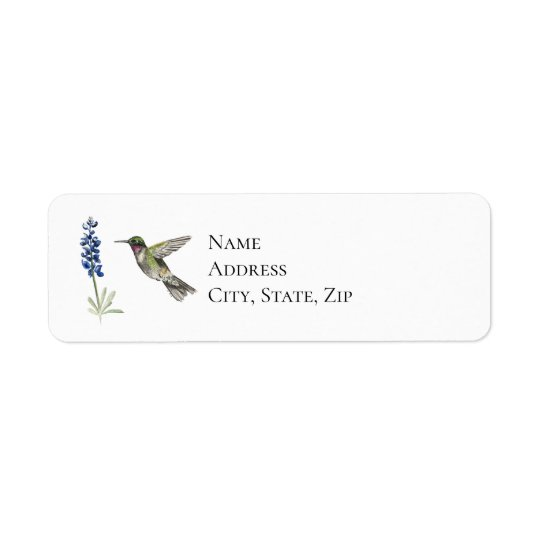 Hummingbird and Bluebonnet Return Address Label