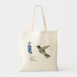 Hummingbird and Bluebonnet Tote Bag