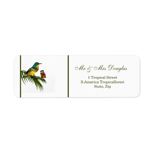 Hummingbird and butterfly return address label
