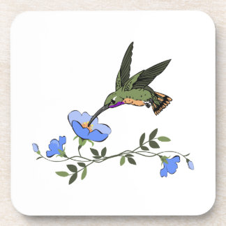 HUMMINGBIRD AND FLOWERS DRINK COASTER