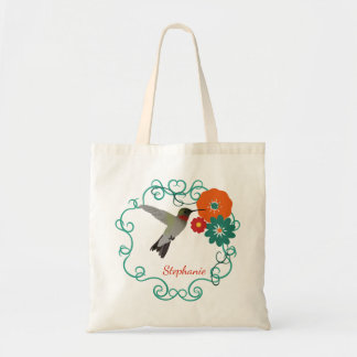 Hummingbird and Flowers Personalised Tote Bag
