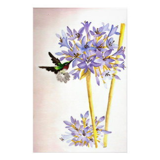 Hummingbird and Flowers Personalised Stationery