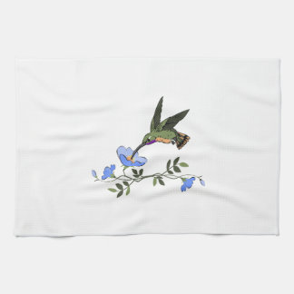 HUMMINGBIRD AND FLOWERS TEA TOWEL
