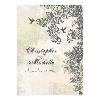 Hummingbird and Flowers Wedding Invitation