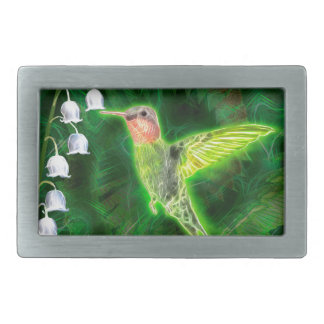 Hummingbird and Lily Fractal Belt Buckle
