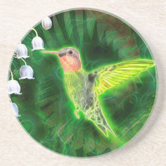 Hummingbird and Lily Fractal Beverage Coasters